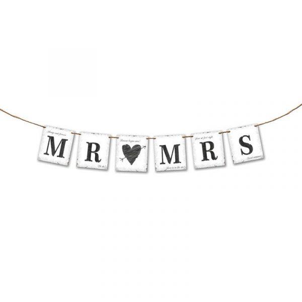 Banderín Mr & Mrs corazón